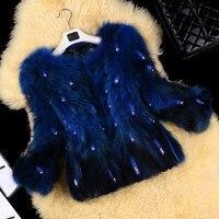 Ясно Камень Настоящее енотовидная собака Мех животных Пальто для будущих мам верхняя одежда Для женщин модные элегантные О шеи 3/4 рукавом Н