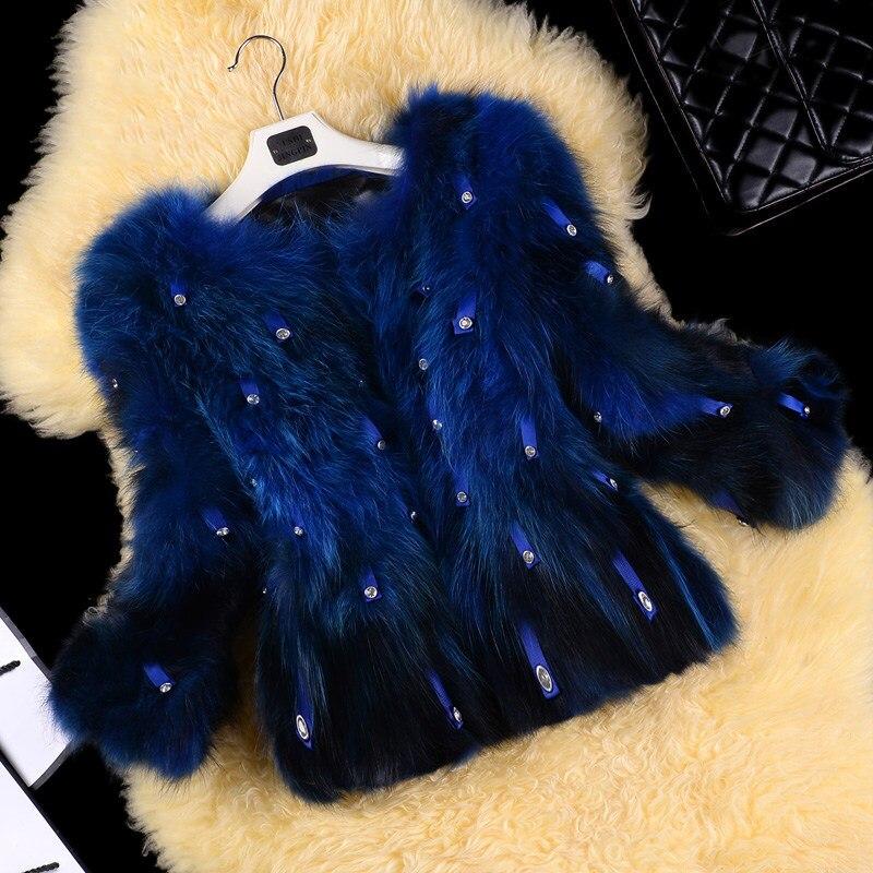 Clear Stone Real Raccoon Dog Fur Coats Outerwear Women Fashion Elegant O neck 3/4 Sleeve Real Fur Jackets 2018 Autumn Winter