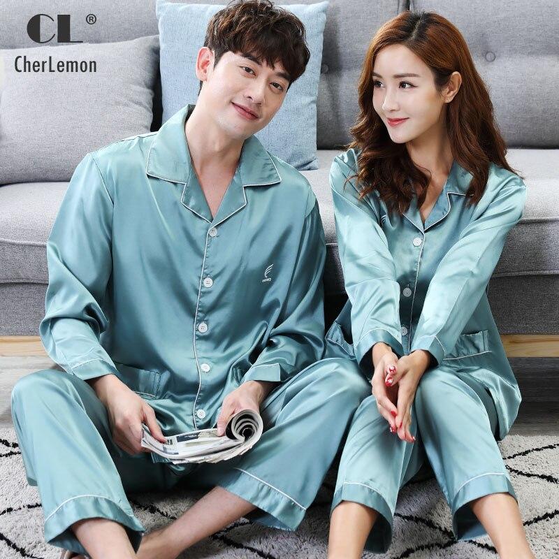 CherLemon Couple Matching Solid Silk Satin Pajama Sets Autumn Full Sleeve Women Sleepwear Mens Classic Button Up Loungewear