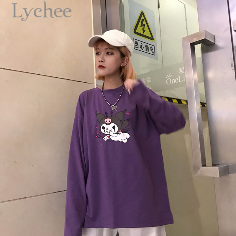 8e67eb457 Lychee Trendy Cartoon Demon Print Purple Women T Shirt Long Sleeve O Neck  Female T Shirt Casual Loose Tee Top-in T-Shirts from Women's Clothing on ...
