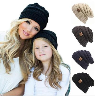 80f5326d0f0 CC Women Winter Knitted Wool hat Unisex Folds Casual labeling Beanies ...