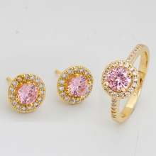 Pink Style Wedding Jewelry Sets Gold Plated Fashion Earrings Rings For Women Austrian crystal Accessories birthday gift