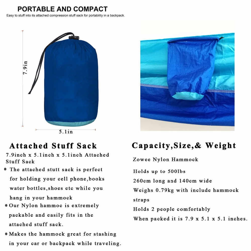 Image 5 - 210T Nylon Parachute Hammock Light Weight Outdoor Camping Portable Single Hammock with hammock ropes and hammock carabiners-in Hammocks from Furniture
