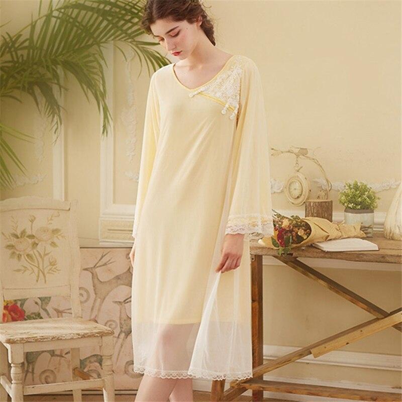 97c2c0a8ac Victorian Nightgown Autumn Sleepwear Women Night Wear Vintage Lace Slash  Home Wear Sleeping Dress Long Cotton Night Shirt H722-in Nightgowns    Sleepshirts ...