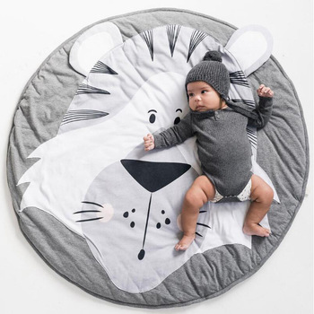 90cm Round Baby Play Mats Animals Cotton Pad Toddler Kids Crawling Blanket Carpet Rug Toys Mat For Children Room Decor Props ins thick round baby blanket play game mats pom pom crawling rug children toy mat carpet kids room decor photography props 90cm