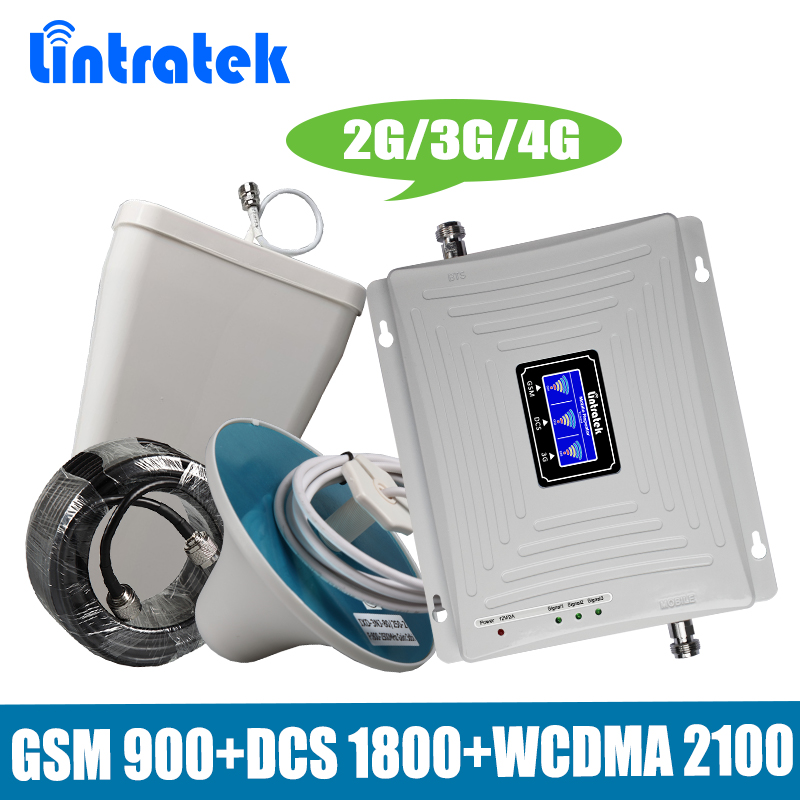 Lintratek Tri-Bande 2G/3G/4G Mobile Signal Booster GSM 900 + DCS/ LTE 1800 + WCDMA UMTS 2100 MHz Téléphone Portable Répéteur Amplificateur Antenne
