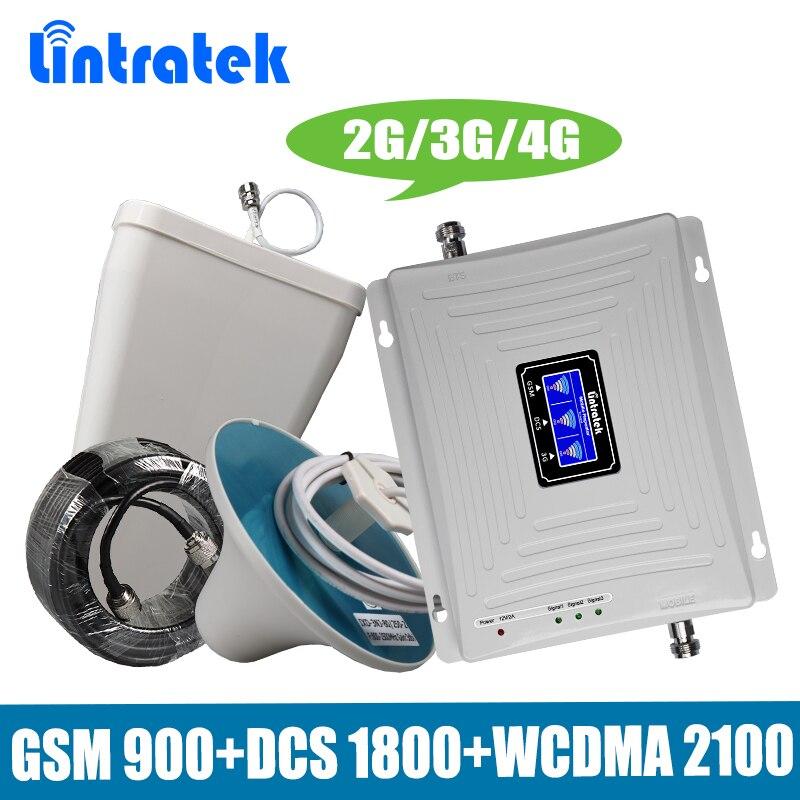Lintratek Tri-Bande 2G/3G/4G Mobile Signal Booster GSM 900 + DCS/LTE 1800 + WCDMA UMTS 2100 MHz Téléphone Portable Répéteur Amplificateur Antenne