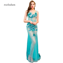 ruthshen Sexy See Through Prom Dress Appliques Embroidery Squins Light Blue Curved V Neck Mermaid 2019 Night Dresses