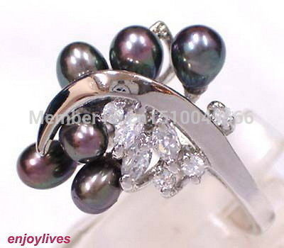 FREE SHIP >>Real Black Pearl 6 Beads 18KWGP Crystal Ring Size: 7.8.9