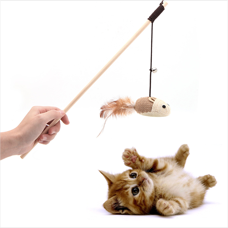 Funny Pet Cat Toys Interactive Teaser Toysith Bells Elastic Rod Has A Funny Cat Mouse Feather Pets Toys Product %328/310