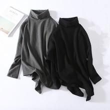 Europe Fashion Loose Bat Sleeve Women T Shirt Autumn and Winter New Iregular  T-shirt Oversized Stand Collar Cotton Tops