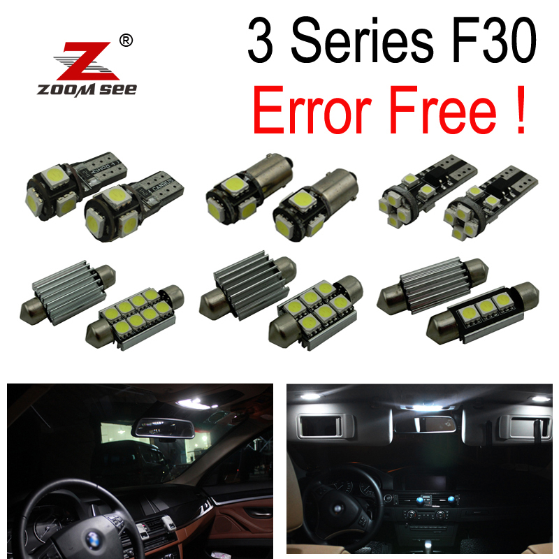 17pc X canbus Error free LED Interior Light Kit for bmw 3series F30 F35 F80 M3 318i 320i 328i 330i 335i 340i (2012+) cawanerl car canbus led package kit 2835 smd white interior dome map cargo license plate light for audi tt tts 8j 2007 2012