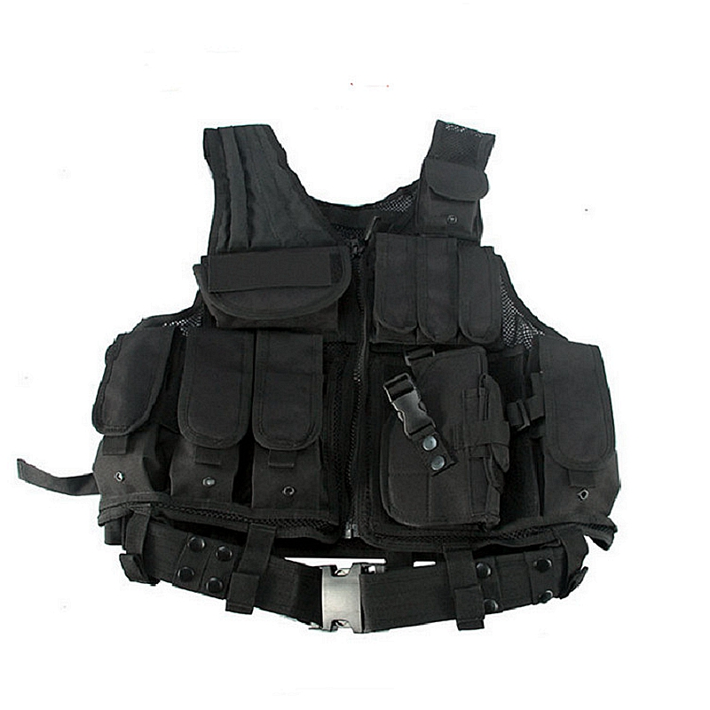 Tactical Military Combat Vest With Pistol Holster Magazine Pouches Vest Black Airsoft Gear Outdoor Hunting CS Paintball Vest military tactical camouflage drop leg thigh magazine pouch 5 56mm and pistol magzine airsoftsports paintball hunting accessory