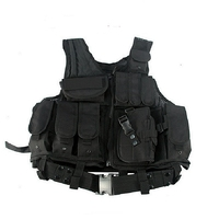 Tactical Military Combat Vest With Pistol Holster Magazine Pouches Vest Black Airsoft Gear Outdoor Hunting CS Paintball Vest