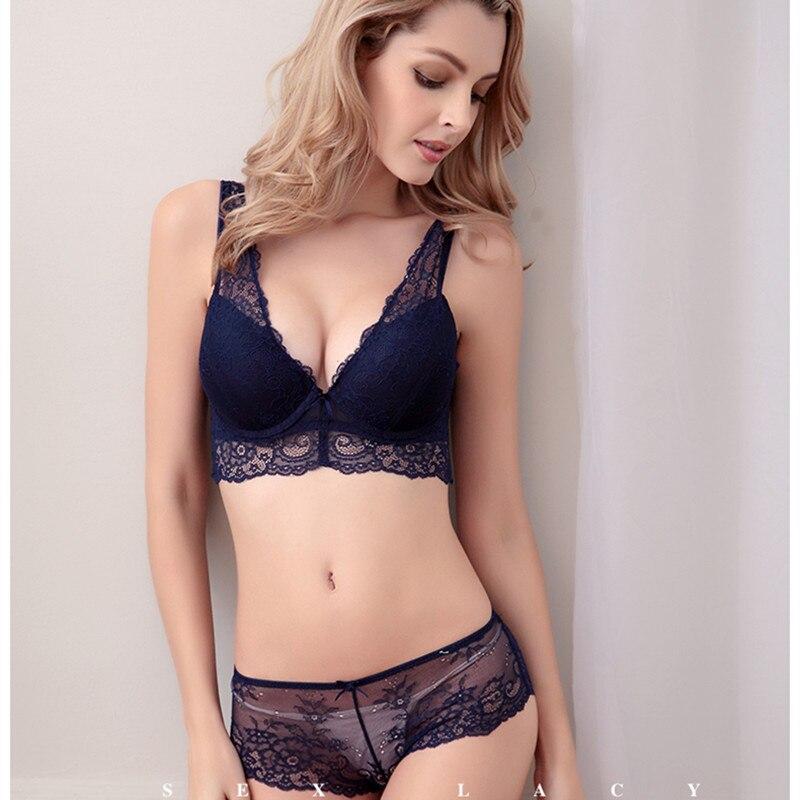 Fashion sexy deep lace V-neck young girl underwear panties small push up bra the eurygaster furu adjustable bra set