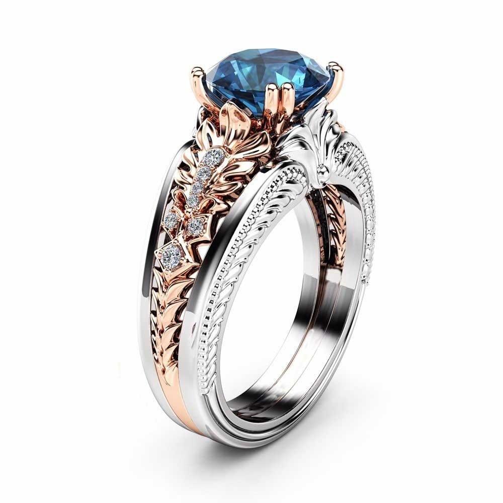 14k Rose Gold 1 Carat Diamond Ring For Women Bizuteria Bague Etoile Sapphire Gemstone14k Gold And Diamond Wedding Topaz Ring