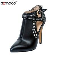2016 Fashion Women Shoes Pointed Toe Rivet Stiletto Boots Female Size