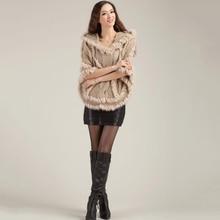 Fashion Real Knitting Rabbit Fur Poncho with hood Wrap Cape Shawl Women's Autumn Winter Spring Fashion femaleStyle Free Shipping