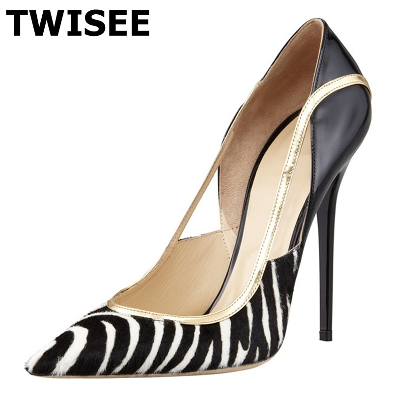 TWISEE sapatos femininos  12cm high heels Black pumps Party pointed-toe stiletto heels shoes woman wedding shoes size34-43 square heels 7 5 cm sapatos femininos high heels shoes woman round toe patent leather spring pumps t strap comfortable shoes