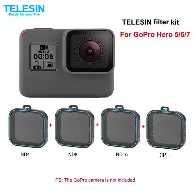 TELESIN 4 Bộ Lọc gói Thiết Lập 3 ND Filter (ND4 8 16) + 1 CPL Đối Với Gopro hero 7 hero 6 hero 7 6 5 bộ lọc phân cực phụ kiện filtre kit