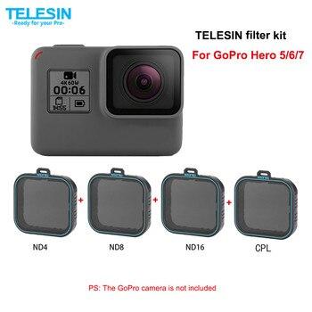 TELESIN 4 pacchetto Set di Filtri 3 ND Filter (ND4 8 16) + 1 Per Gopro hero 7 hero 6 hero 7 6 5 filtro polarizzato accessori filtre kit