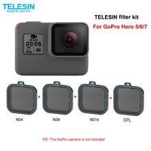 TELESIN 4 pack Filter Set 3 ND Filter(ND4 8 16) + 1 CPL For Gopro Hero7 hero6 hero 7 6 5 polarized filter accessories filtre kit