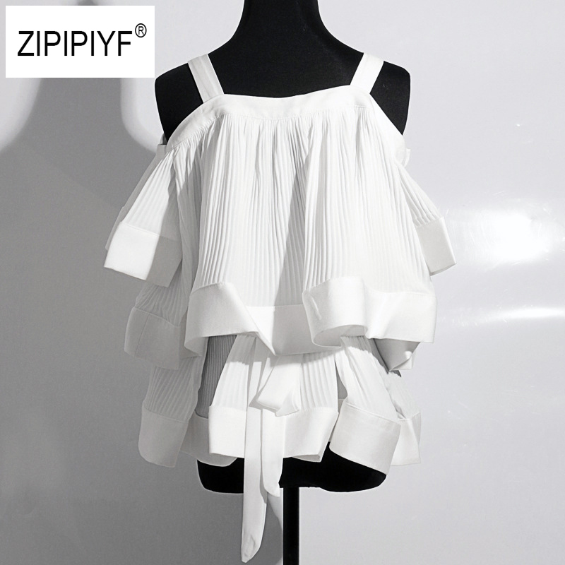 Runway Off Shoulders Sexy Blouse Women Ruffles Strap Neck Solid Short Sleeves Drapped Tops Elegant Style 2018 New Fashion B300