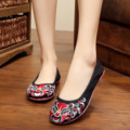 New summer design soft sole fashion gauze Chinese style Peking Opera embroidery Leisure lace women flats shoes ladies loafers