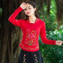 Ethnic Style Women's Blouses Elegant Long Sleeve Blouse Tops Vintage Flower Embroidery Shirt Plus Size Women Clothing Blusas Y27
