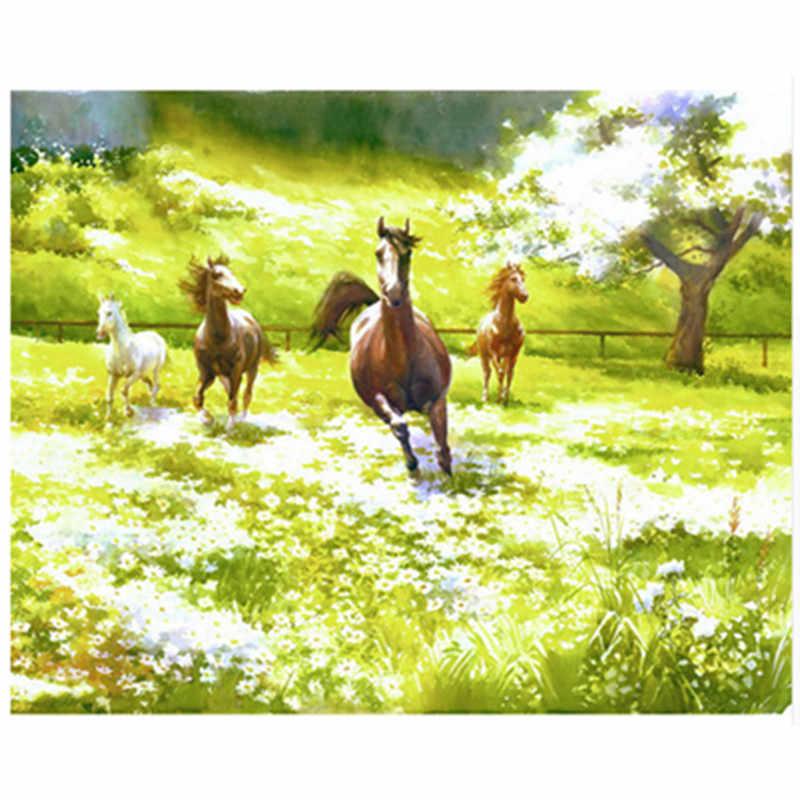اللوحة بواسطة أرقام DIY Dropshipping40x50 50x65 سنتيمتر الراكض الحصان على العشب الحيوان قماش الزفاف الديكور صورة فنية هدية