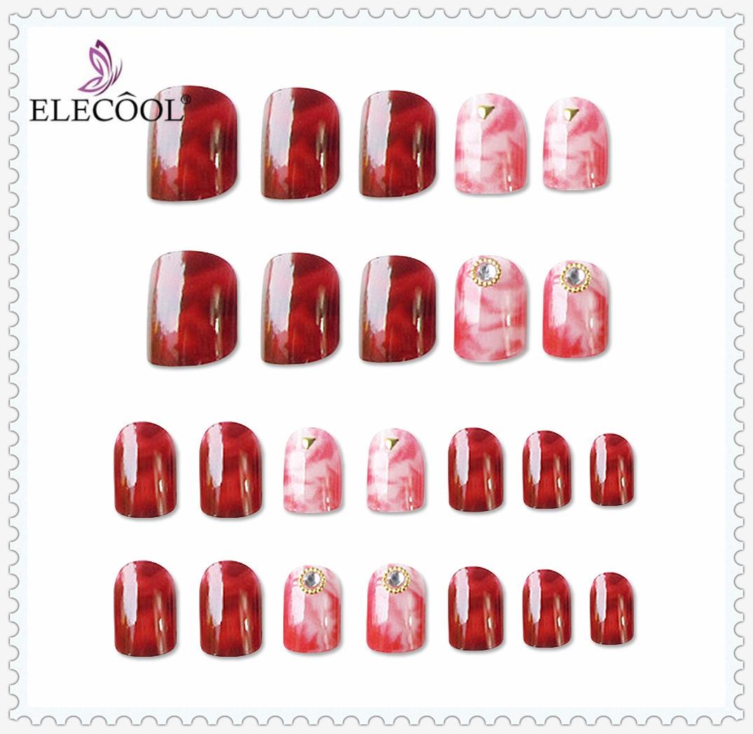 ELECOOL 24pcs False Nail Tips Press On Manicure Gel Polish