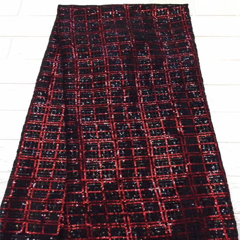 2018 High Quality African Lace Fabric red black Velvet French Net Embroidery Sequins Tulle Lace Fabric For Nigerian party Dress