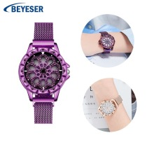 Exquisite Luxury fashion elegant Women Watches Watch Quartz ladies Crystal Wristwatch Waterproof mesh belt watch Business table