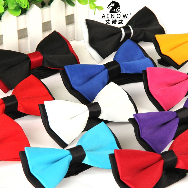 2015 Men's bowtie accesorios patchwor solid color bowknots bowties 12cm * 6cm butterfly bow tie gravatas borboleta lot Wholesale
