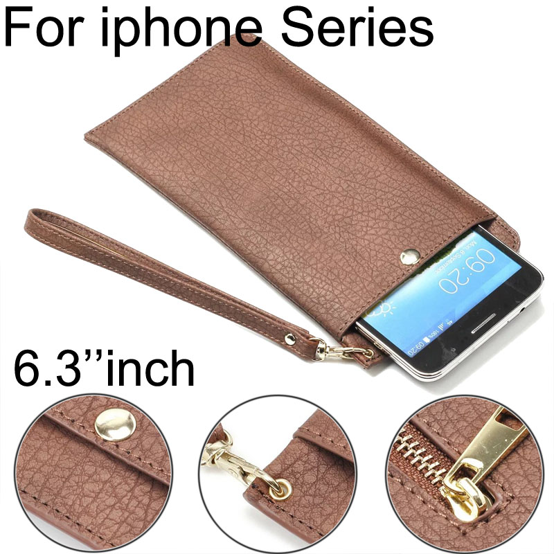 Luxury Zipper wallet hand Pouch For iphone 3G 4S 5S PU Leather Holster Bag Phone Cases For iphone 6 6s plus 7 7plus 6.3 Within