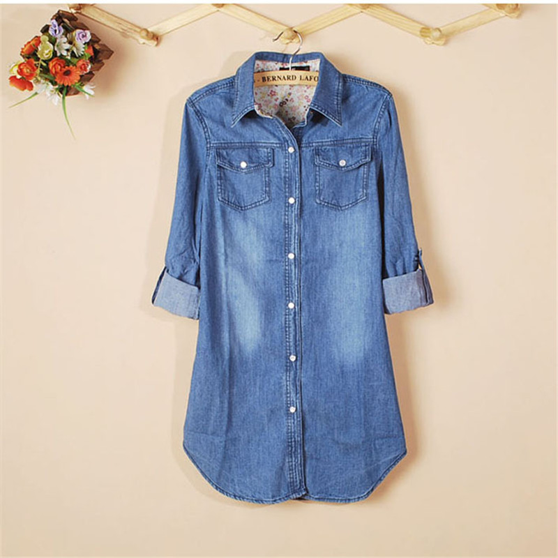 Ladies Special ! 2018 New Fashion 1PC New Womens Denim Shirt Plus Size Cotton Long Sleeve Casual Vintage Tops Shirt for Girl