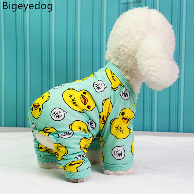 Cute Duck Dog Pajamas Cotton Small Dog Clothes Chihuahua Yorkie