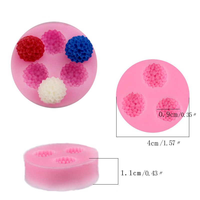 3D 3 Holes Chrysanthemum Daisy Flower Shaped Silicone Soap Mold Chocolate Cake Candy Mold Fondant Cake Decorating Tools Supplies in Soap Molds from Home Garden