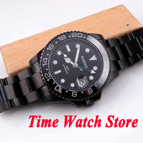 5b5656ec7e5 Parnis watch 40mm black dial green GMT hand luminous hands sapphire glass  PVD case Automatic movement Men s watch 200-in Mechanical Watches from  Watches on ...