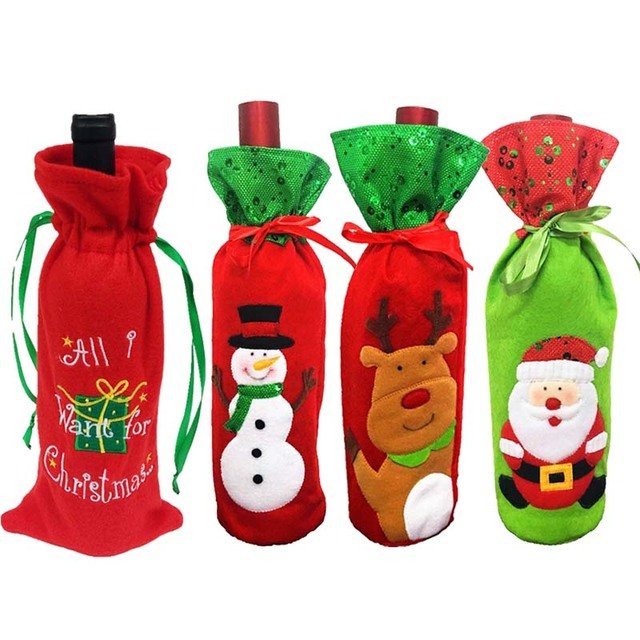 Christmas Red Wine Bottle Covers Gift Bags Home Dinner Party Table Decoration New Year Santa Claus Snowman Reindeer Navidad 2018