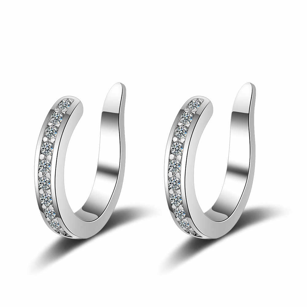 100% 925 Sterling Silver Smooth Surface Ear Cuff Clip on Earrings For Women Girl Without Piercing Earings Jewelry DS1040