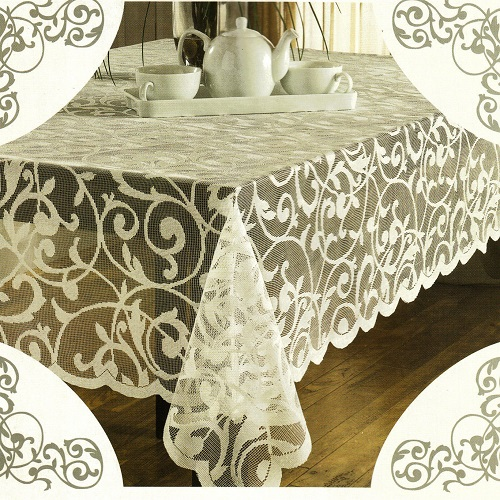 Ivory Polyester Scroll Lace Tablecloths Rectangle Table Covers Wedding 52x70 Inch And 60x84 Free
