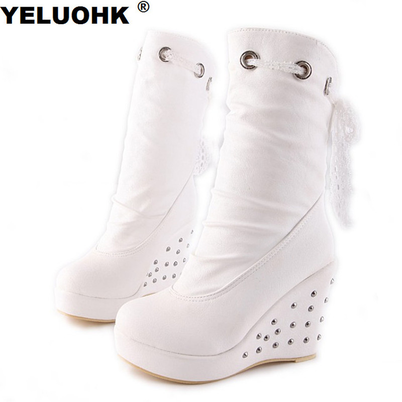 New Rivet White Boots Wedge Shoes Women High Heels Platform Shoes Winter Boots Women Pumps Casual Women High Boots Mid Calf sorbern brown leopard mid calf women boots for ladies high heels platform shoes platform boots woman shoes 2018 winter