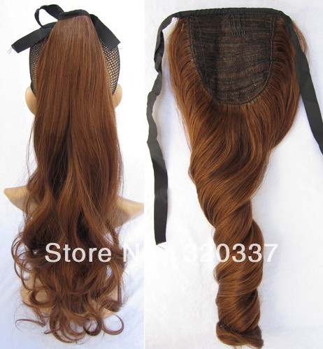 Fashion Ribbon Ponytail Hair Ponytail Extensions Loose Wavy Ponytail Holder  Synthetic Hair Extension for Women  4 30 Auburn aa06a30d2d3