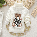 Los Bebés de los Suéteres Niños Oso de Dibujos Animados Suéteres de otoño/Invierno de Punto Suéteres de Cuello Alto Suéter Caliente Niños Niños Ropa de Abrigo