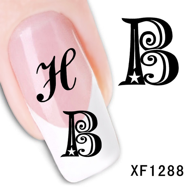 Letter Design Water Transfer Nails Art Sticker Decals Lady Women