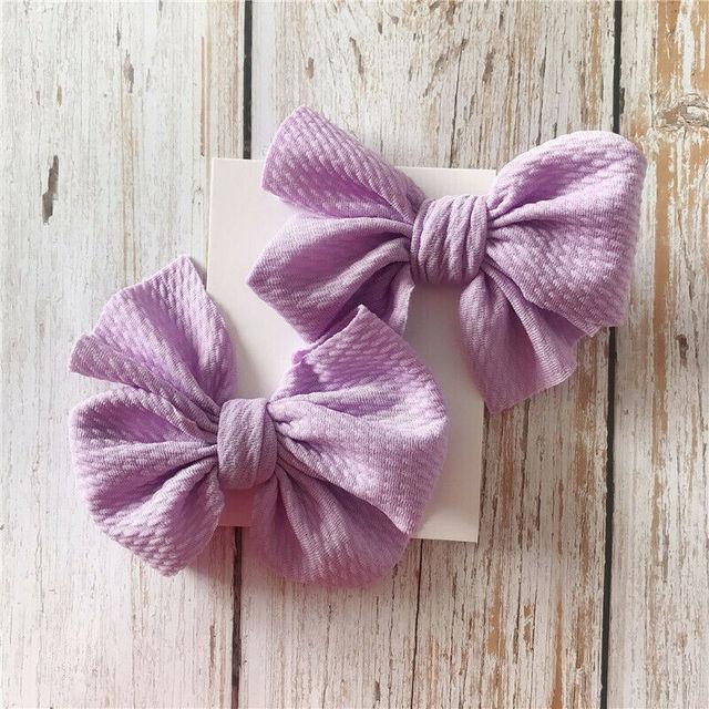 Solid Color Cotton Classic Style Hair Bow 2 pcs. Set