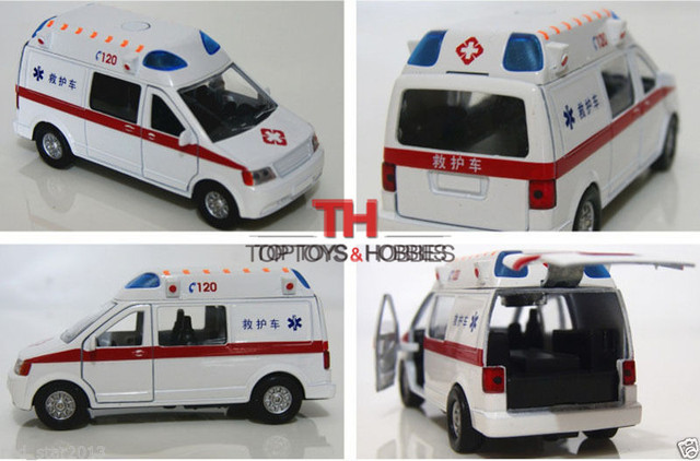1/32 White Ambulance Car Pull Back China 120 Medical vehicles Toys Model Alloy Diecast Car w /Light&Sound Collections Kids Toys