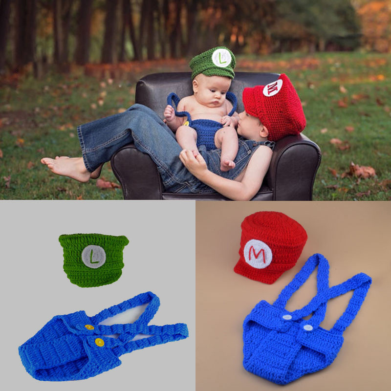 0-24M Newborn Baby Woolen Knitted Super Mario Hat+Overall Cosplay Clothing Set Infant Crochet Cartoon Photography Props Outfits