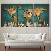 Printed Modular Picture Canvas Painting For Bedroom Living Room 3 Pieces Map Home Wall Art Decor